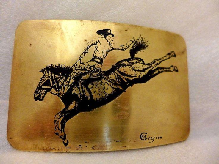 Vintage Rodeo Belt Buckle Bucking Bronco Artist Signed Bill Crafton #Unbranded