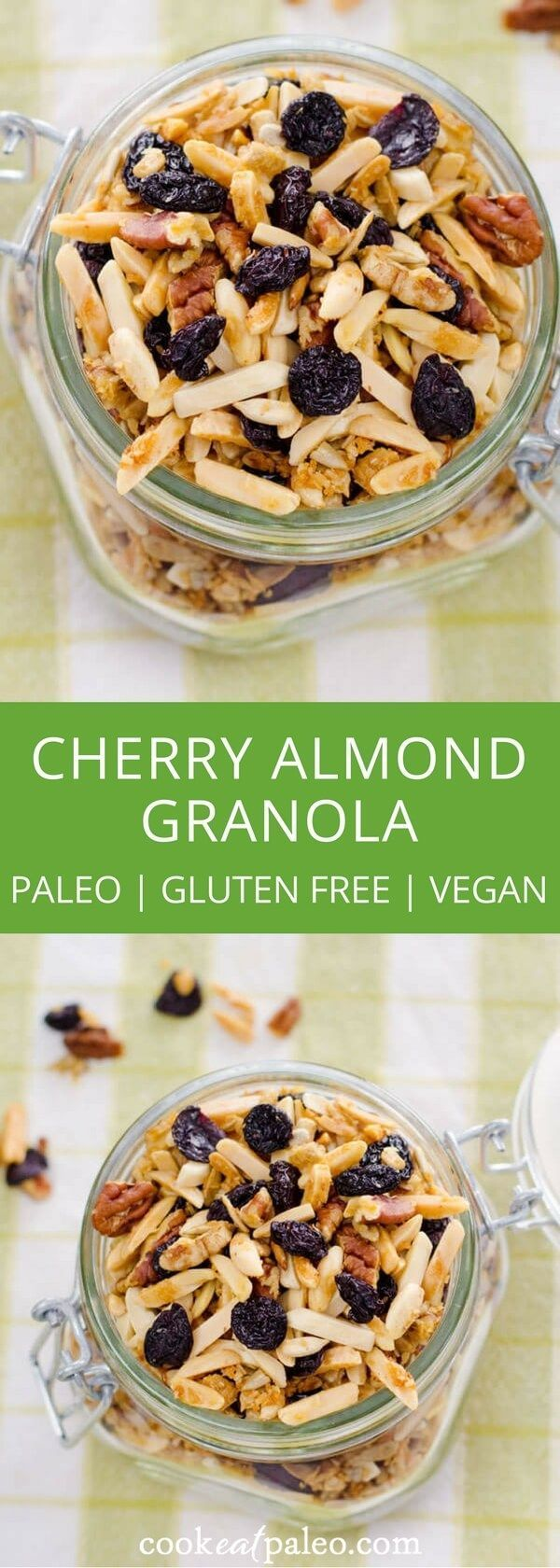 This quick and easy cherry almond paleo granolarecipe is gluten-free, grain-free, and refined sugar-free with a vegan option. And it's hard to resist... via @cookeatpaleo