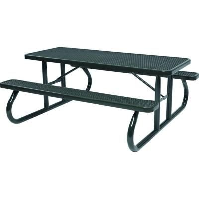 Tradewinds Park 8 ft. Black Commercial Picnic Table - HD-D111GS-BK - The Home Depot