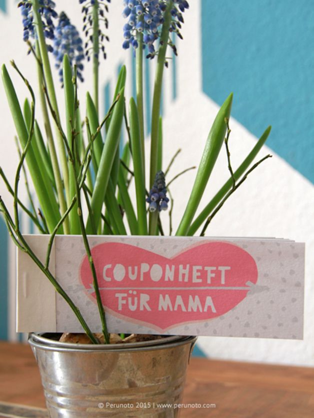 Gutscheinheft als Geschenk zum Muttertag / Geschenkidee /  coupon booklet for Mother's Day made by Perunoto via DaWanda.com