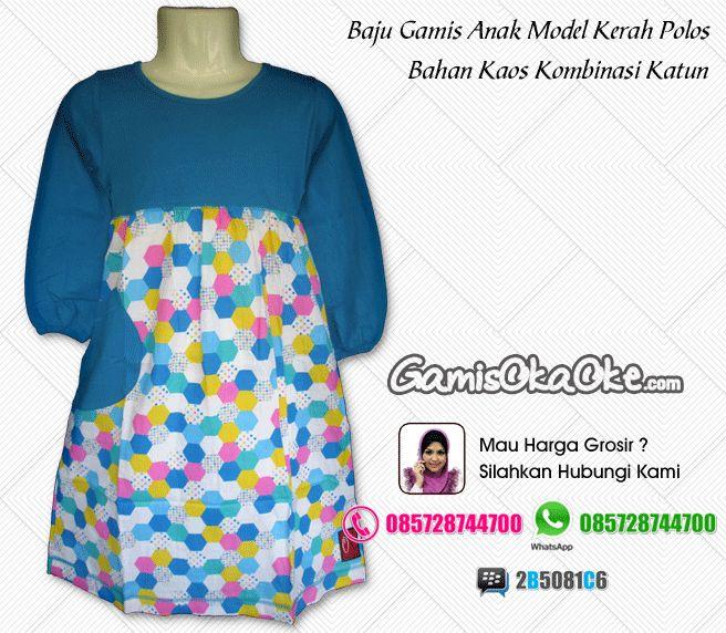 Jual baju muslim anak perempuan murah model gamis terbaru dengan bahan kaos dipadukan kain katun berkualitas bagus dan jahitan rapi. Untuk pemesanan silahkan hubungi kontak yang tertera di gambar atau bisa juga kunjungi toko online kami di http://www.gamisokaoke.com
