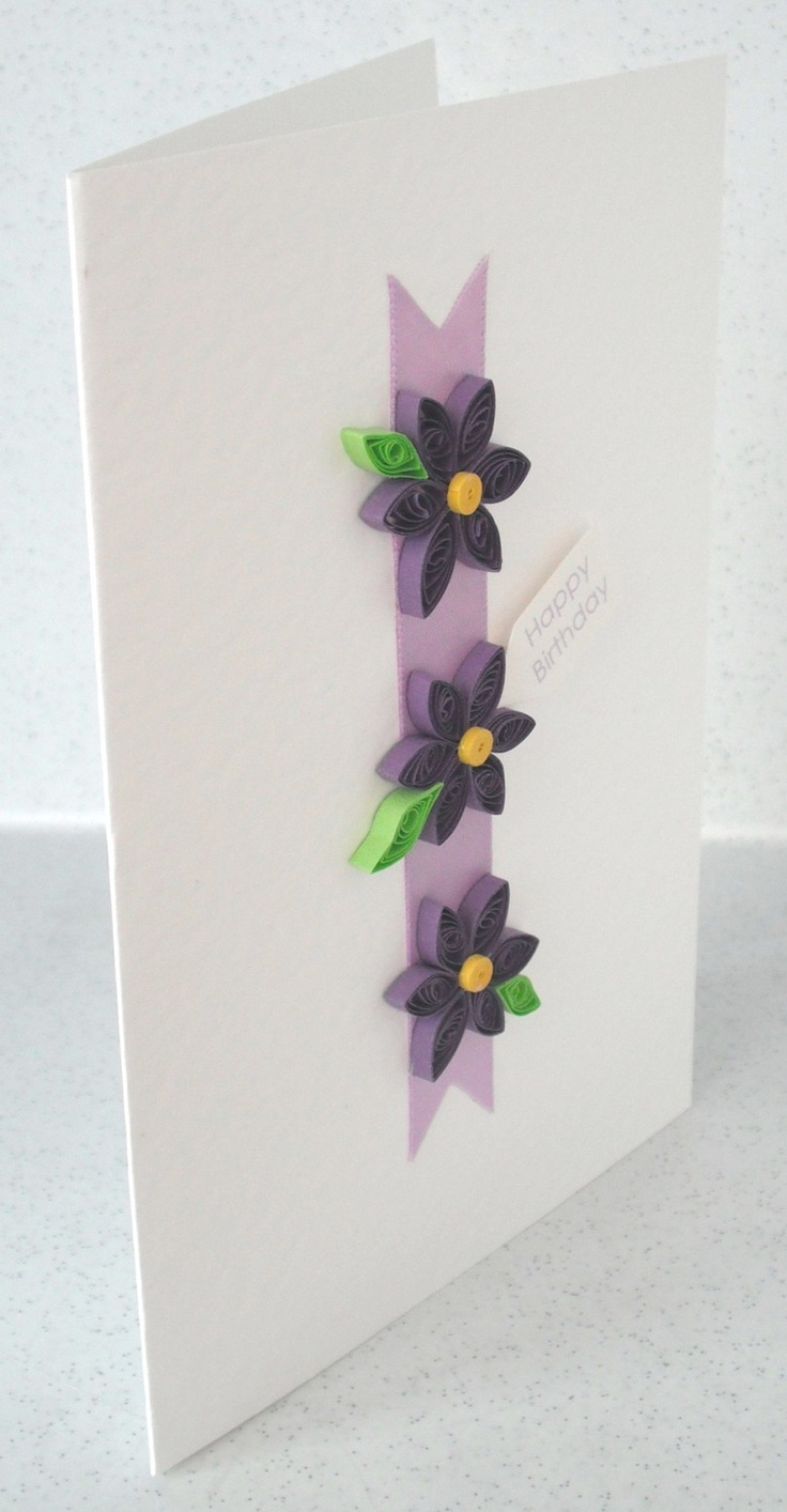 Quilled birthday card, paper quilling, personalized message. £5.00, via Etsy.
