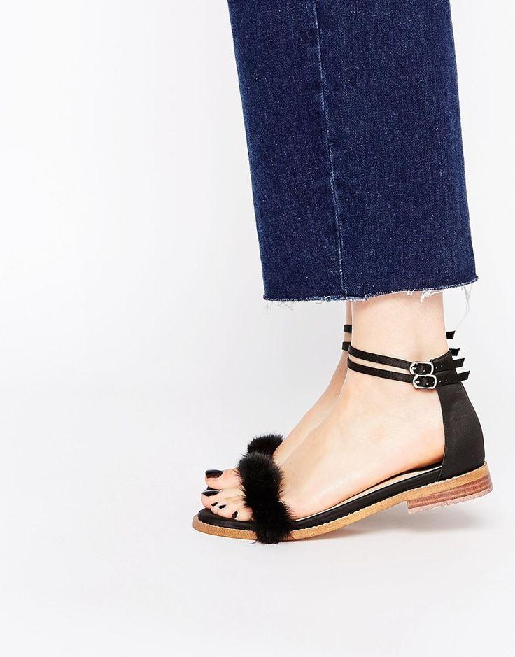 Image 1 ofASOS FREEDOM Faux Fur Flat Sandals