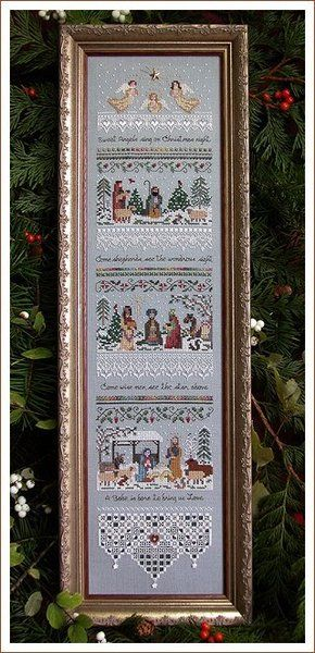 Victoria Sampler Heirloom Nativity Sampler - Cross Stitch Pattern. Sweet angels sing on Christmas night. Come shepherds see the wondrous sight. Come wise me see