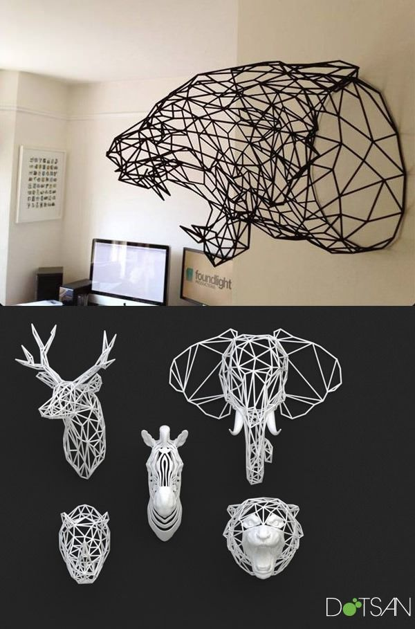 3D-Printed Animal Heads: Wireframe Wildlife