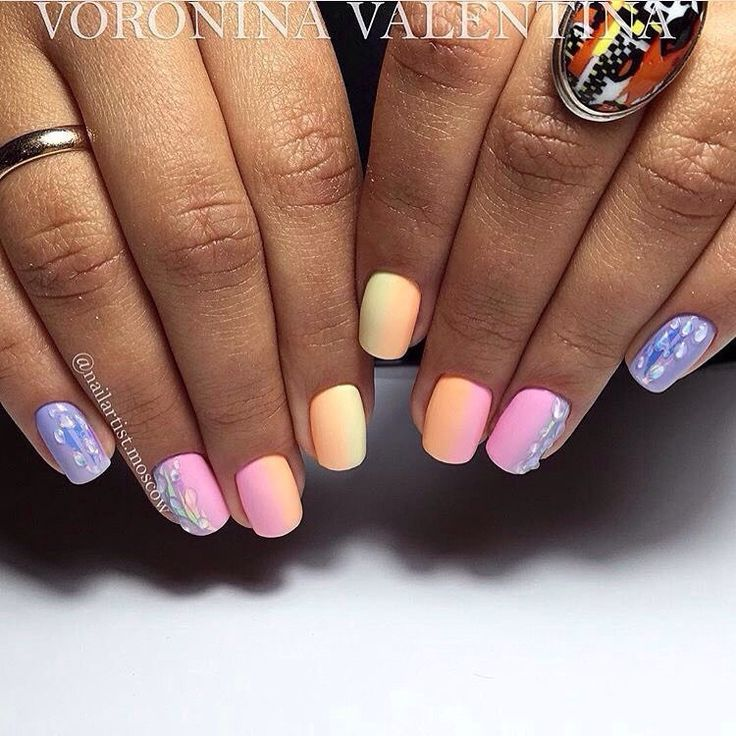 Accurate nails, Bright summer nails, Ideas of gradient nails, Juicy summer nails, Manicure by summer dress, Nails ideas 2017, Rainbow nails, Spectacular nails