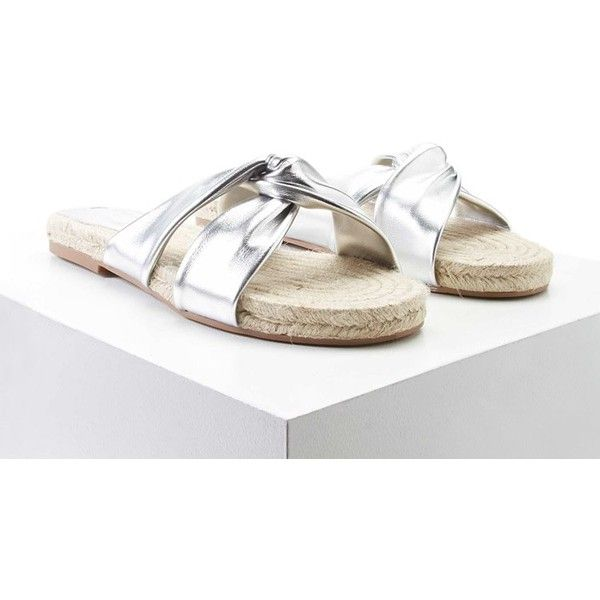 Forever21 Metallic Twisted Espadrilles ($13) ❤ liked on Polyvore featuring shoes, sandals, silver, espadrille flats, espadrille sandals, platform sandals, platform shoes and metallic sandals