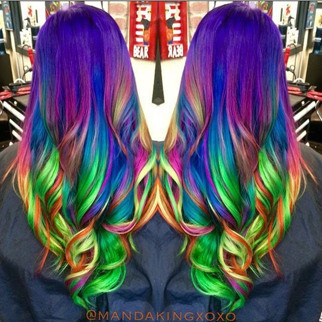 Neon rainbow hair by Amanda King. Unicorn hair. Mermaid hair. Long hair. hotonbeauty.com