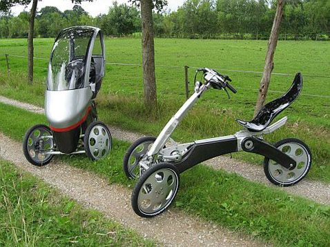 Electric Bike. Looks practical, light, inexpensive and easy to stack up or park.