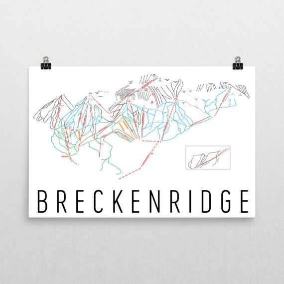 Breckenridge Ski Map Art Breckenridge Colorado by ModernMapArt