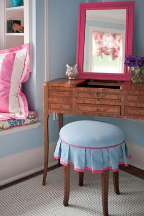I love mirrors; They add light and glamour—and because there are usually many of them for sale at thrift shops, flea markets and tag sales, you can get a great deal on them. The only problem? You may have to transform a dated, dark, mahogany-brown frame, for instance, by painting it a fantastic fuchsia. I like Rust-Oleum Painter's Touch Ultra Cover 2x in Berry Pink for an easy update.