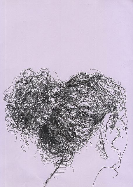 I'm trying to draw curly hair but couldn't help but see my own hair in this picture!! That's pretty much me everyday, hair in a bun and curls going in every direction!