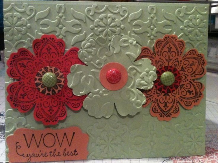 flower card: Cards Flowers, Punch Flowers, Cards Ideas, Flowers Cards Mixed, Cards Mixed Bunch, Cards Stampin, Flower Cards, Embossing Flowers, Nice Flowers