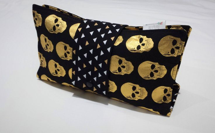 Ready to Post Handmade Nappy Wallet - Babyshower Gift - Metallic Skulls by MattynMe on Etsy