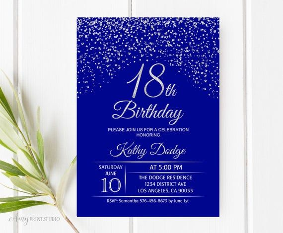 18th birthday invitation royal blue