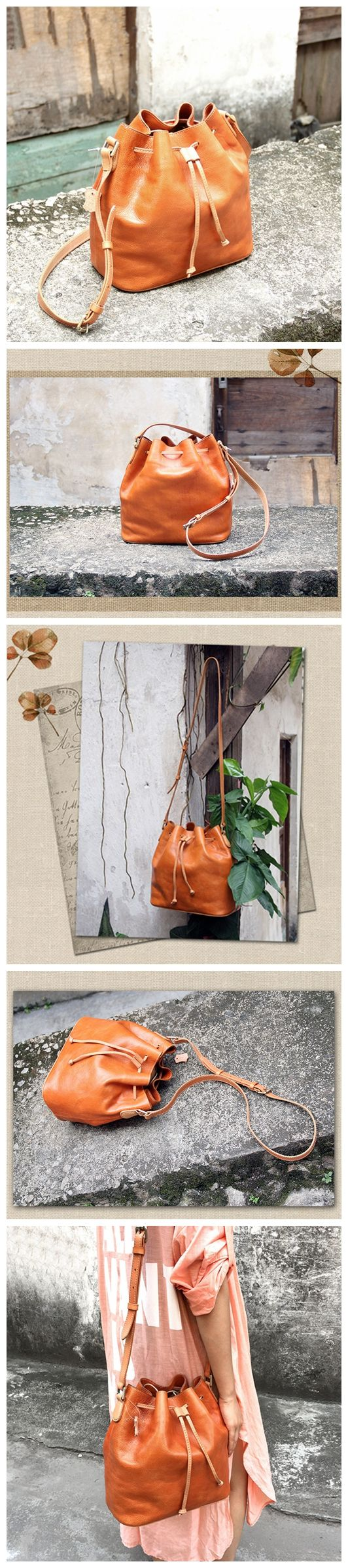 LISABAG--Vintage Genuine Leather Bucket Bag Shoulder Bag Women's Fashion Bag AK05