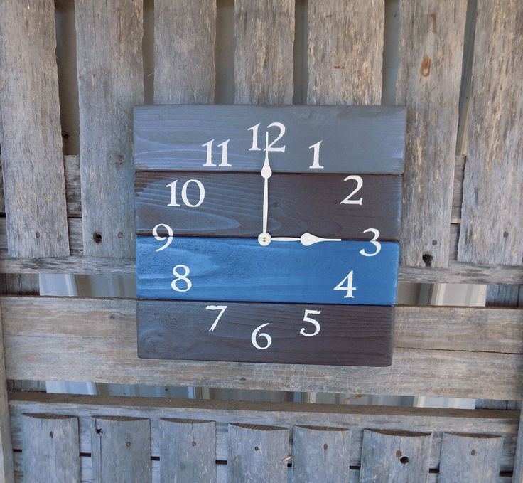 Pallet Wood Clock, Blue and Grey Clock, Rustic Wood Clock, Primitive Wood Clock, Wood Wall Clock, Pallet Wall Clock, Rustic Beach Clock by ThePalletDoctor on Etsy https://www.etsy.com/listing/262084428/pallet-wood-clock-blue-and-grey-clock
