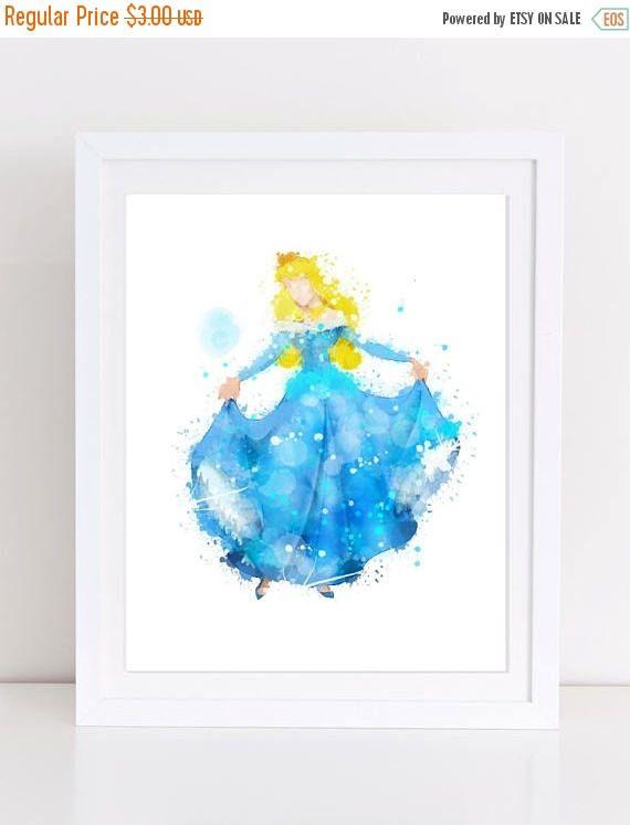 60%OFF DIsney Princess Aurora Blue Dress Watercolor Print