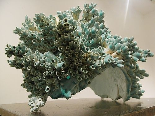 ceramic sculpture by Kodama - I love this for its texture, colours and mimicking of coral using such simple rolls of clay