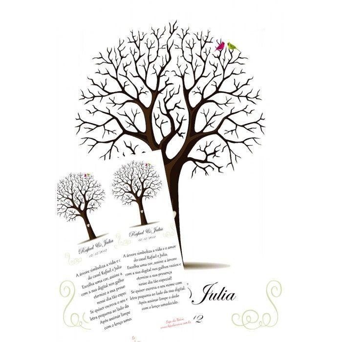 Árvore de digitais casal de pássaros
