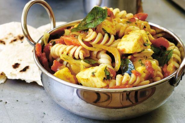 Spiced haloumi pasta