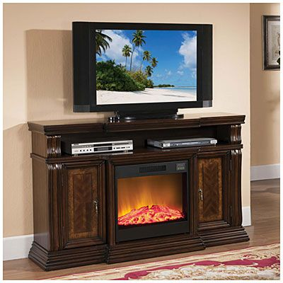 60 quot walnut media fireplace at big lots for the house