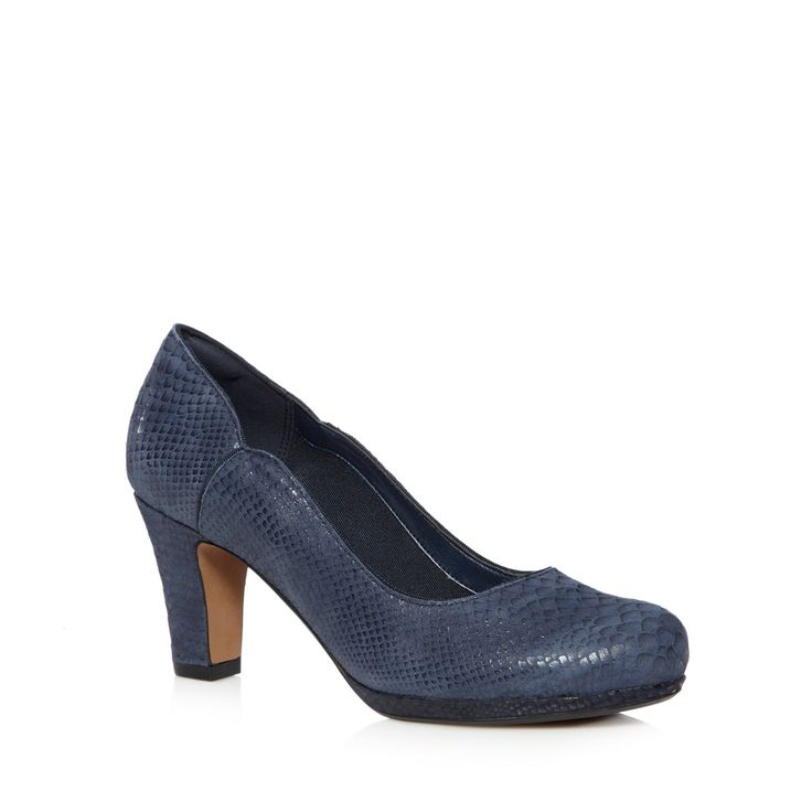These classically styled 'Chorus Nights' court shoes by Clarks are crafted from navy leather in a stylish reptile effect and a round toe. They have a mid heel with a low platform sole and enhanced heel and arch support for greater comfort.