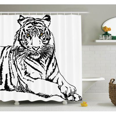 """Ambesonne Animal Sketch of Tiger Shower Curtain Set Size: 75"""" H x 69"""" W x 1"""" D"""