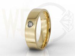 Damska obrączka z żółtego złota z diamentem / Woman's wedding ring made from yellow gold with diamond / 1 267 PLN / #rings #jewellery #love #weddingtime #weddingring #diamond