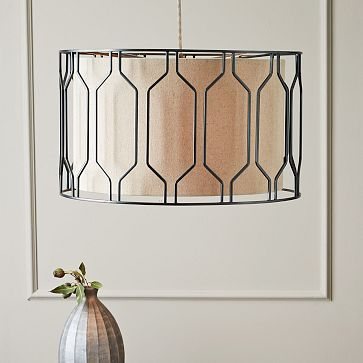 Metal Honeycomb Drum Pendant from West Elm, $299. DIY idea: upcycle a cylindrical cage structure and combine with a custom-sized drum lampshade.