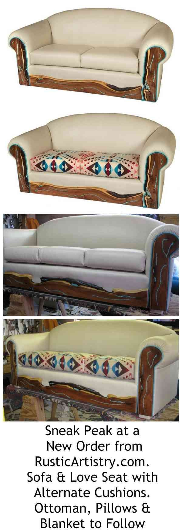 Rustic Cabin Decor -  Sofa and love seat have both leather and Pendleton cushions as alternate. Kick plate is live edge mesquite inlaid with Sleeping Beauty turquoise.