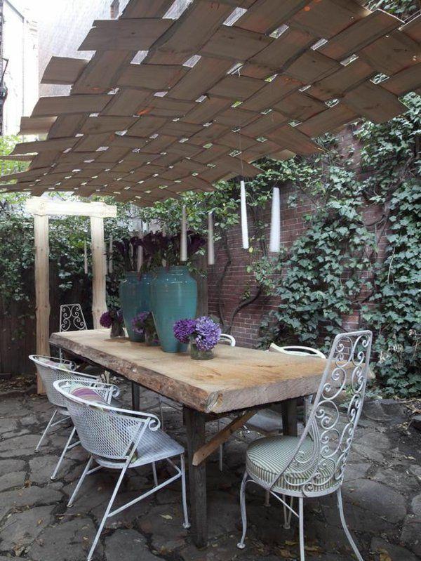 Pergola Selber Bauen Holzbohlen Decke Tisch Stühle Mehr