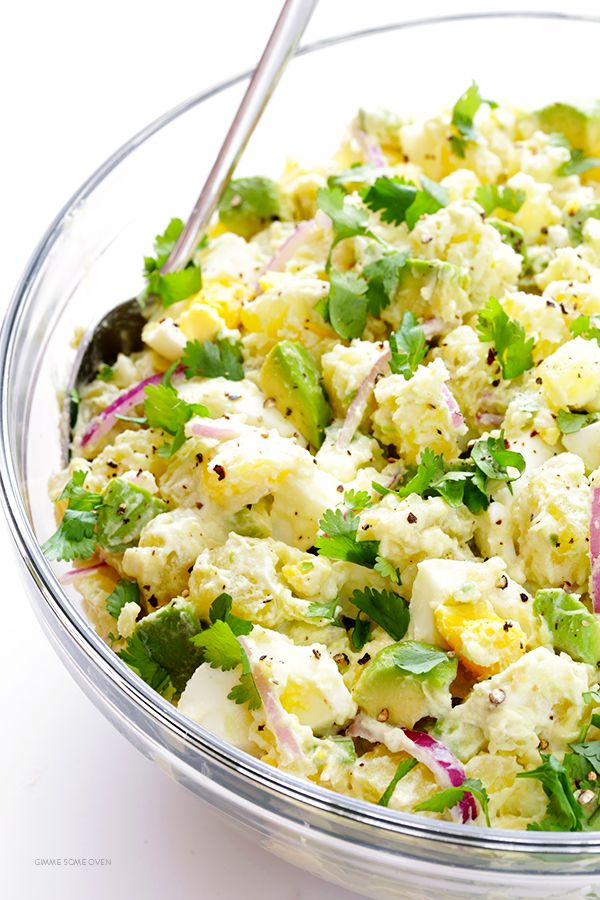 Avocado Potato Salad -- classic creamy potato salad is kicked up a notch with some delicious avocados! | gimmesomeoven.com