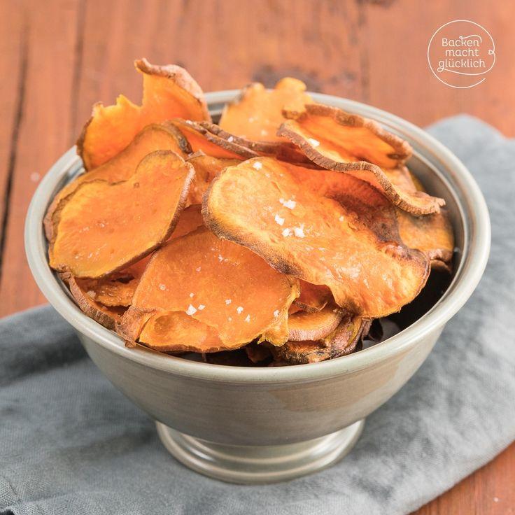 Süßkartoffelchips aus dem Ofen
