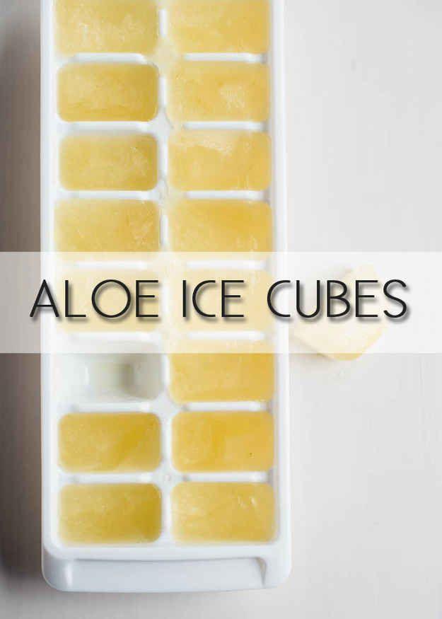 Congelez de l'aloe vera dans un bac à glaçons pour soulager les coups de soleil.