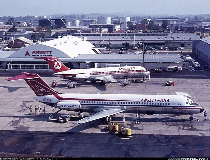 Ansett Douglas DC-9-31 VH-CZF, in the foreground, carrying the old Ansett-ANA livery and Ansett Douglas DC-9-31 VH-CZI in the newer Ansett Airlines of Australia livery, are seen together on the apron in front of the old terminal at Brisbane-Eagle Farm, November 1971. Four flight attendants (known as air hostesses in Australia at that time) can be seen approaching the rear tailcone staircase of VH-CZF. (Photo: Wolodymir Nelowkin)