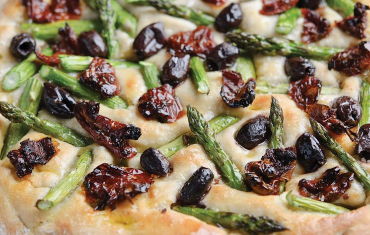 Focaccia with British asparagus, olives and sun-dried tomatoes