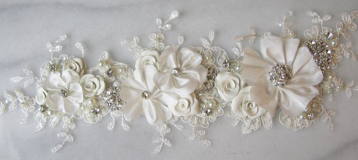 Rhinestone and Lace Applique with Pearls, Bridal Applique, Wedding Gown Applique, Sash or Belt Alternative, Embellishment for Wedding Dress. $146.00, via Etsy.