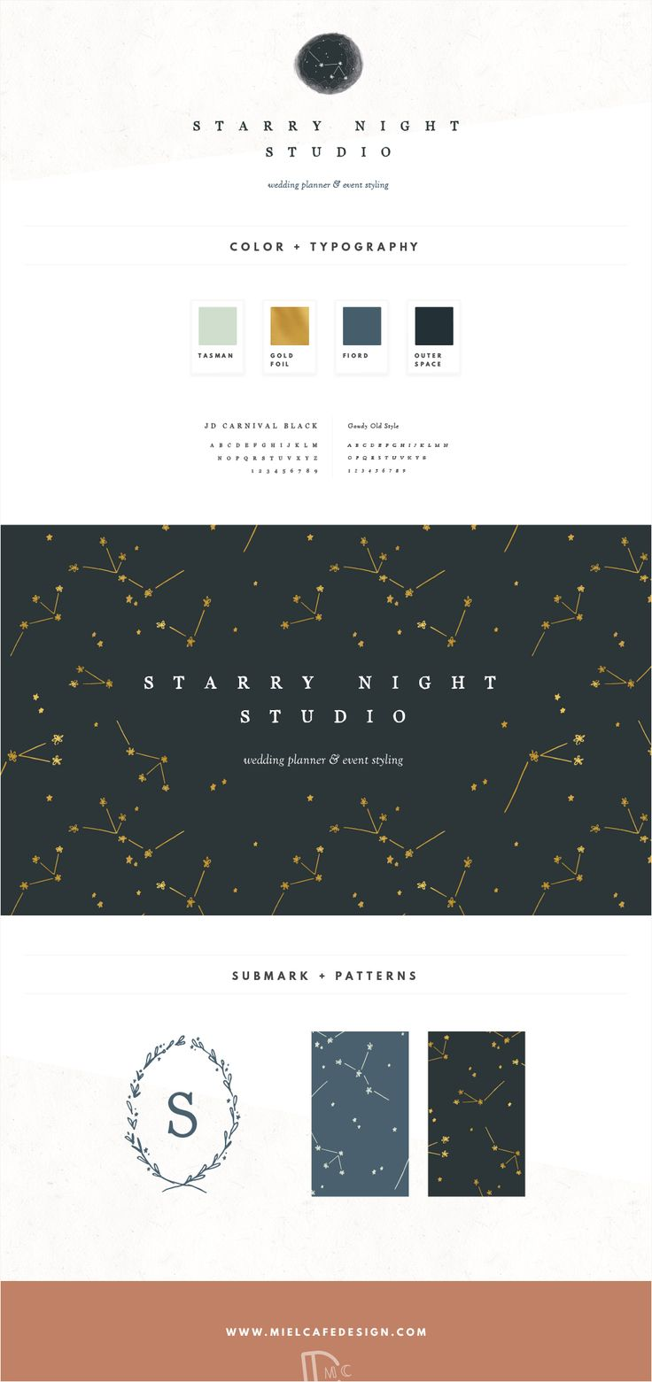 Branding for Starry Night Studio Wedding Planner Whimsical Constellation Brand Identity Custom Logo Design Pattern