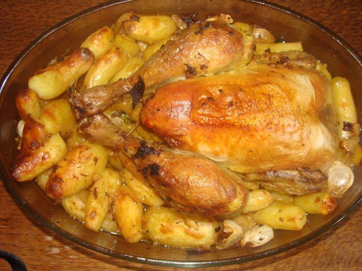 Poulet rotis à l'ail et pomme de terre