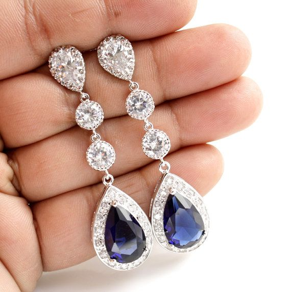 Blue Wedding Jewelry Bridal Earrings Long Wedding Earrings Silver CZ Posts Large Pear Cut Dark Sapphire Blue
