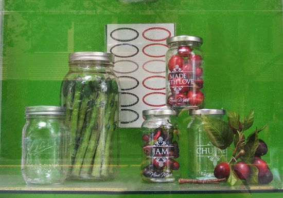 Summer preserving and pickling featuring Ball mason jars. Display by Patricia Denis #patriciadartist  #fauxfoodstyling #fauxfood #foodprop #windowprops