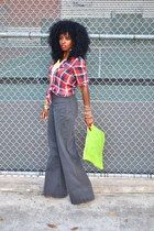 chartreuse American Apparel purse - red plaid hollister shirt