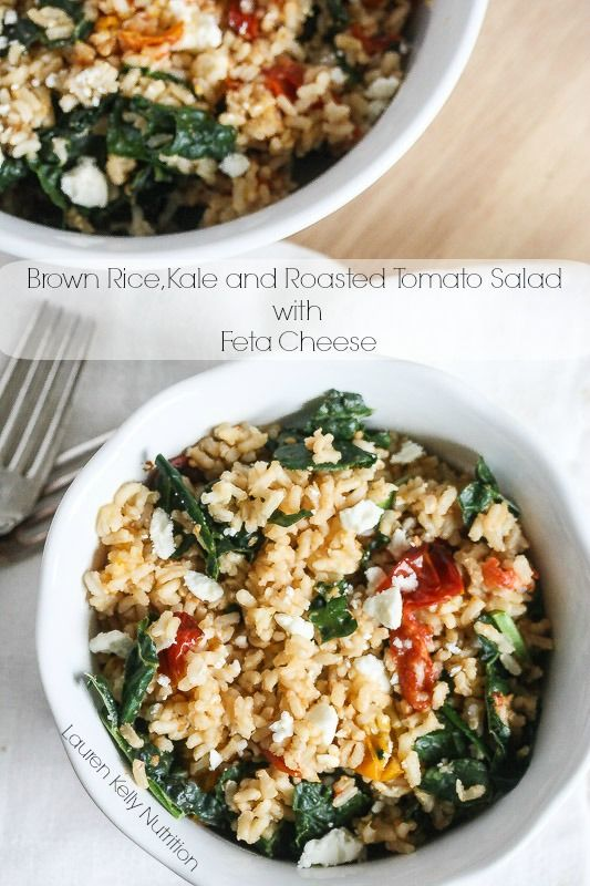 This Brown Rice, Kale and Roasted Tomato Salad with Feta Cheese is healthy and bursting with amazing flavors!