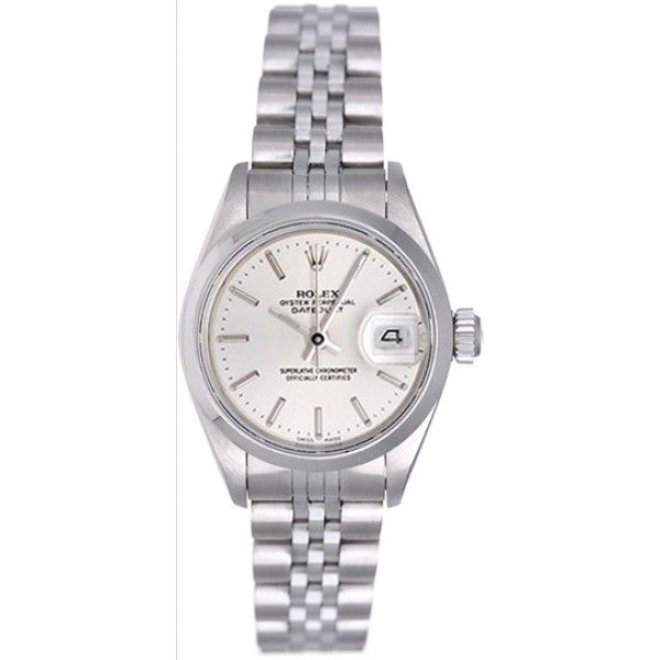 Pre-owned Rolex Date 69160 Stainless Steel Silver Stick Dial 26mm... ($3,393) ❤ liked on Polyvore featuring jewelry, watches, rolex jewelry, rolex wrist watch, rolex watches and rolex