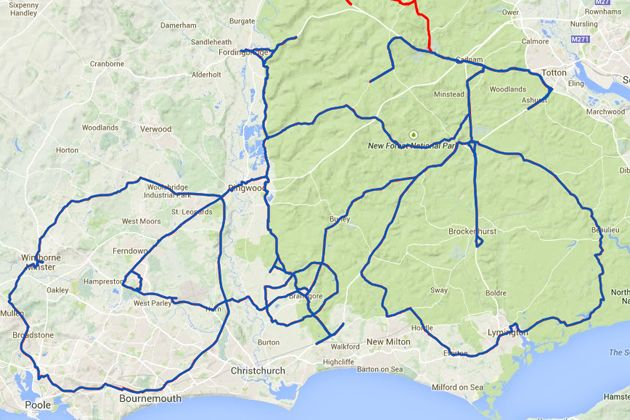 David Taylor's 212-mile ride creates a huge bike mapped out around Bournemouth and the New Forest