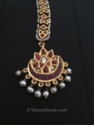 Antique Indian Pearl Gold Maang teeka