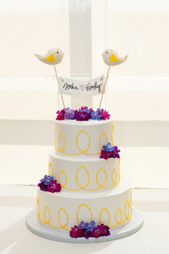 Love Birds Wedding Cake Topper- custom banner and birds for wedding, anniversay, birthday