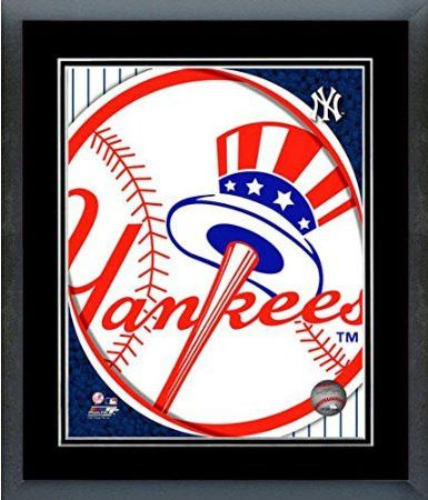 New York Yankees Team Logo Framed With double black matting Ready To Hang- Awesome & Beautiful