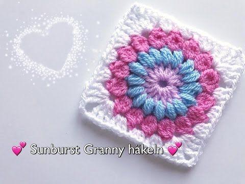 Sunburst Granny häkeln / Blumen Granny Square häkeln - YouTube